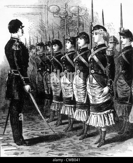 The Female Rights' Musketeers, illustration in 'The Police Gazette,' c. 1846. - Stock Image