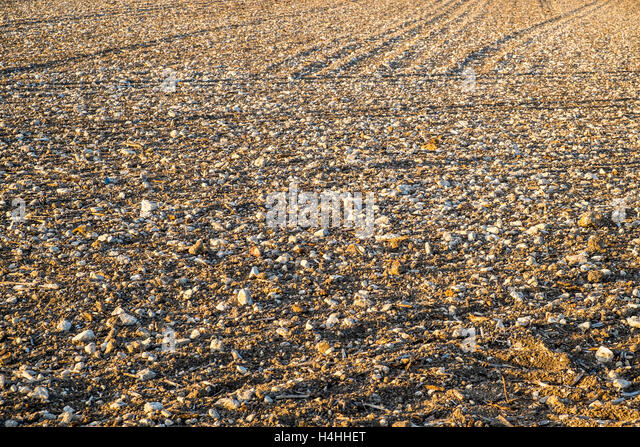 Tilled stony ground after seeding / farmland - France. - Stock Image