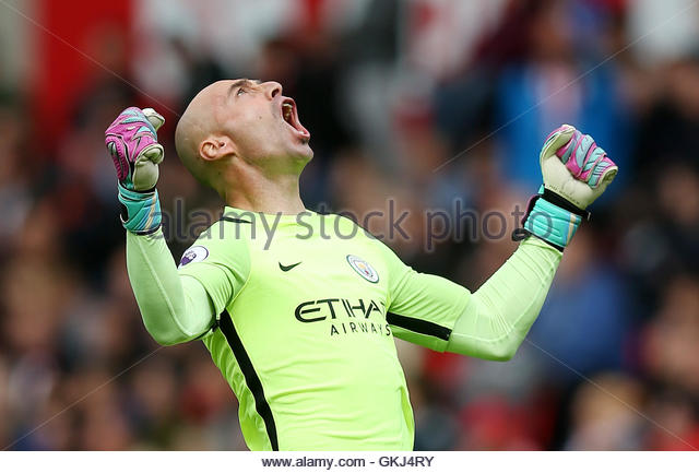 Britain Soccer Football - Stoke City v Manchester City - Premier League - bet365 Stadium - 20/8/16 Manchester City's - Stock Image