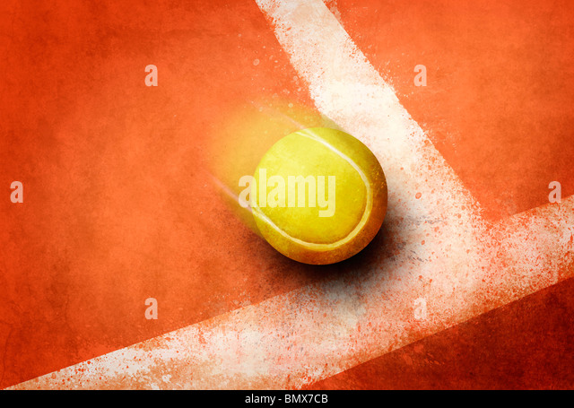 Tennis ball to corner red ground field line - Stock Image