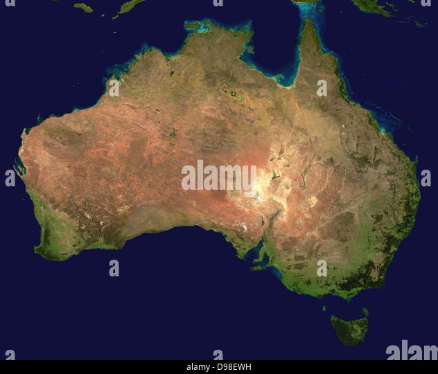 Composite satellite photograph of Australia. - Stock-Bilder