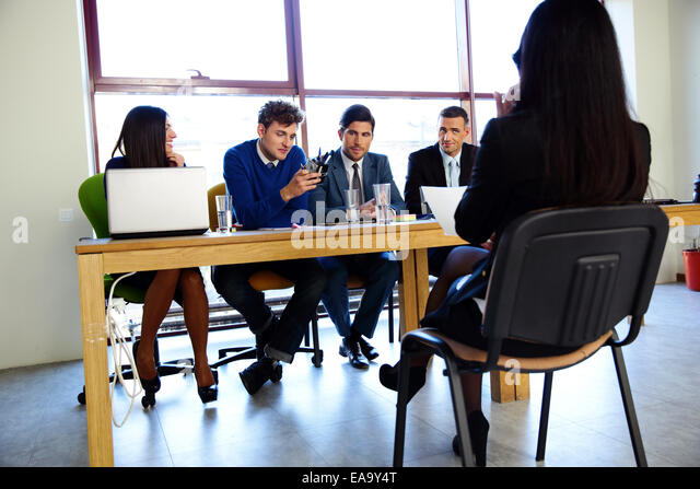 business, career and office concept - businesswoman at job interview in office - Stock Image