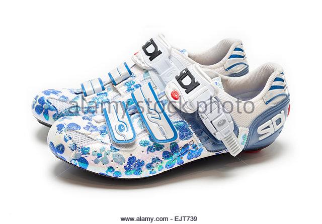 Women's Road Bike Shoes on White Background Flower Patterns, Sidi Genius Pro 5 Professional  Cycling Road Bike - Stock Image