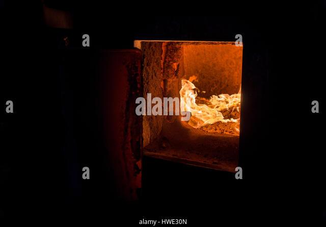 automatic biomass boiler FIEDLER, fire chamber - Stock-Bilder