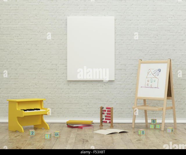 kids game room interior 3d rendering image - Stock Image