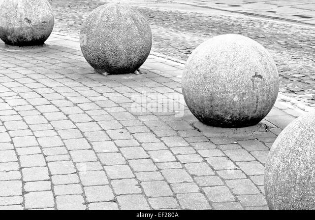 Decorative stone balls in city stock photos