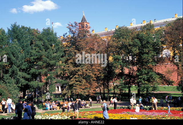 Moscow Russia Kremlin Wall Alexander Gardens  cityscape scenic landscape - Stock Image