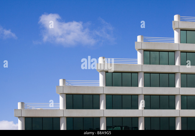 Architectural detail of modern office building with rooftop terraces in a stairstep pattern Silicon Valley California - Stock Image
