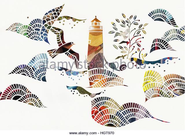 Birds and waves around lighthouse at sea - Stock-Bilder