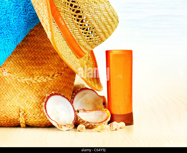 Summertime holidays background, beach objects on the sand, fun of travel concept - Stock Image