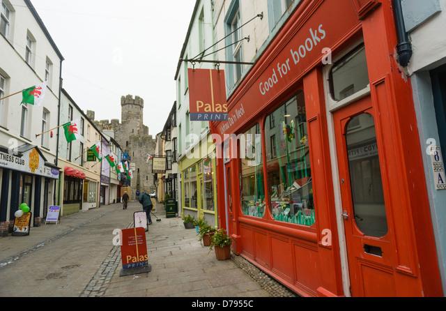 Palas Print welsh bookshop, Caernarfon, Gwynedd, north wales UK - Stock Image