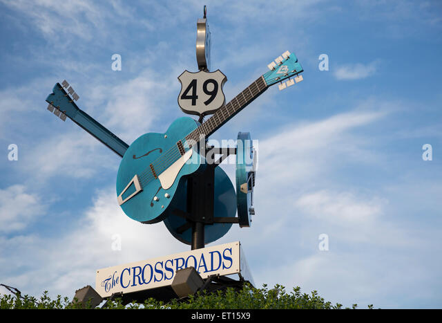 Clarksdale, Mississippi - The crossroads of Highways 61 and 49, where blues guitar player Robert Johnson allegedly - Stock Image