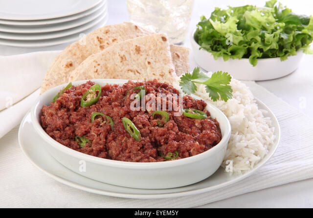 CORNED MUTTON BAKE WITH RICE & CHAPATI - Stock Image