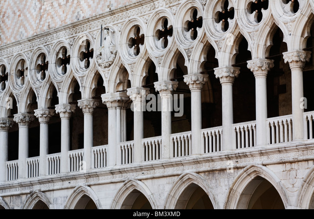 Venice - Doge's Palace - Palazzo ducale - showing close up of Gothic architecture - Stock Image