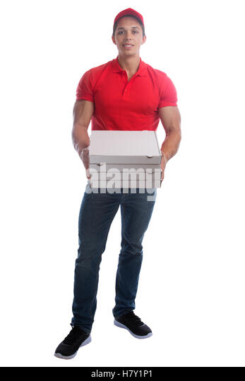 Pizza delivery man order delivering job young full body isolated on a white background - Stock Image