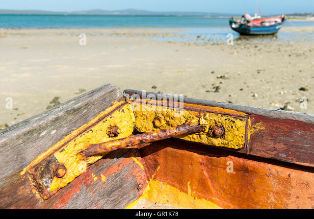 Closeup of corroded metal enforcement in a fishing boat, Churchhaven, West Coast National Park, South Africa - Stock Image