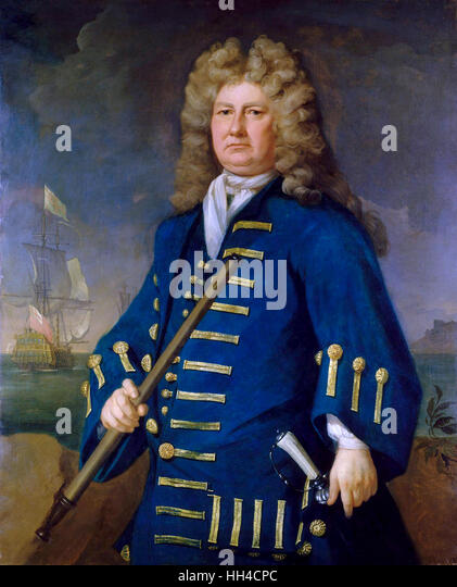 Sir Cloudesley Shovell, by Michael Dahl circa 1703,  English naval officer. - Stock Image