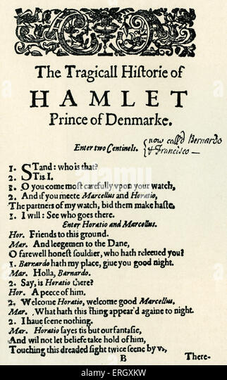 'Hamlet' : Tragedy by William Shakespeare, written c 1599 - 1601. Opening page of the first quarto. 'The - Stock Image
