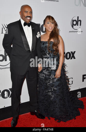 Las Vegas, Nevada, USA. 20th Dec, 2015. Comedian, Televison personality Steve Harvey and wife Marjorie Harvey attend - Stock Image