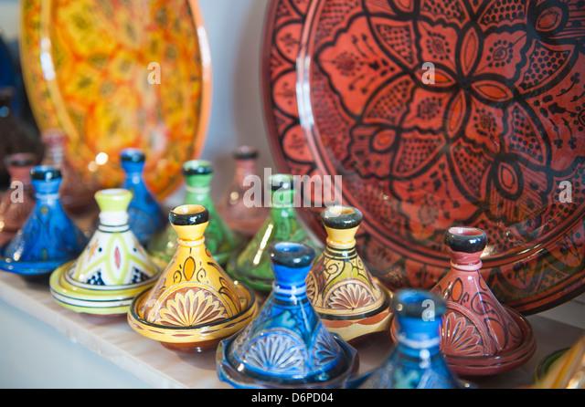 Ceramics for sale, Essaouira, formerly Mogador, Morocco, North Africa, Africa - Stock Image