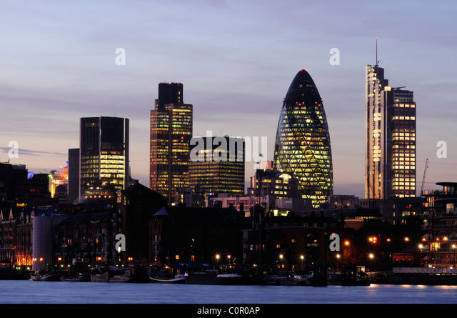 City of London Skyline at Dusk, viewed from Bermondsey, London, England, UK - Stock Image