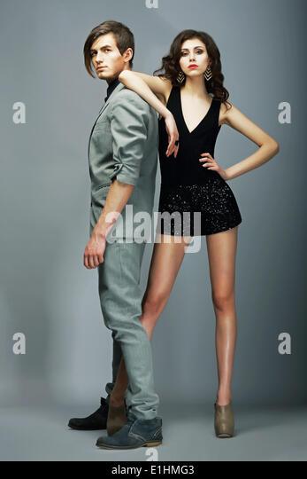 Lifestyle. Well-dressed Couple Fashion Models. Stylishness - Stock Image