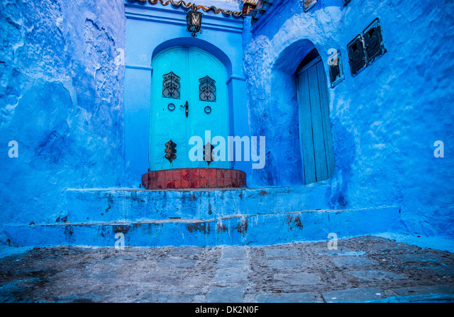 The beautiful blue medina of Chefchaouen in Morocco - Stock-Bilder