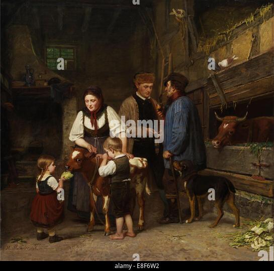 The Sold Calf. Artist: Plathner, Hermann (1831-1902) - Stock Image