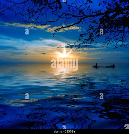 Sunset at White Sandy beach, Koh Chang, Thailand - Stock Image