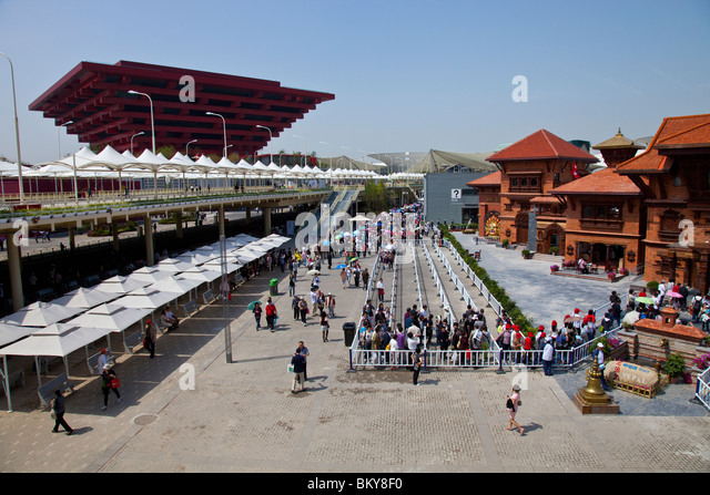 China and Nepal Pavillion at Expo 2010, Shanghai, China World's Fair - Stock Image