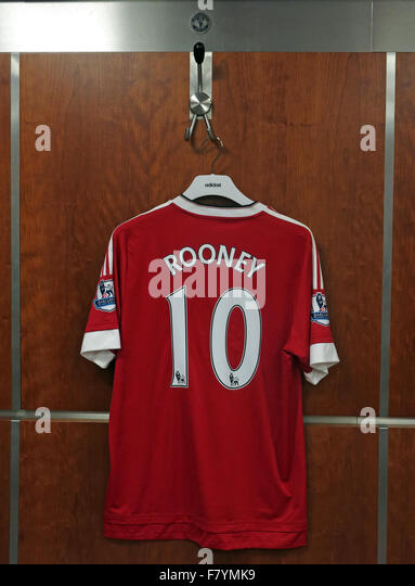 Wayne Rooney shirt in MUFC dressing room, on official Manchester United hook, Old Trafford, - Stock Image