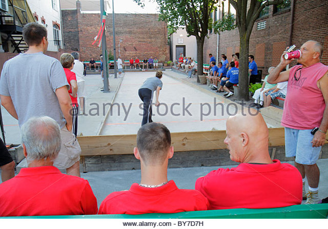 Baltimore Maryland Little Italy ethnic neighborhood community bocce ball court game sport player league man men - Stock Image