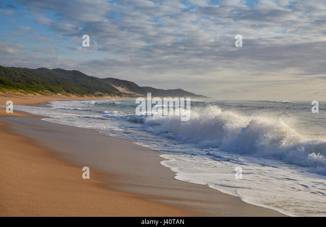 Waves and surf at the Indian Ocean in iSimangaliso-Wetland Park, South Africa, Africa - Stock Image
