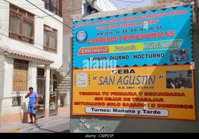 Peru Tacna Calle Hipolito Unanue sign technical school institute continuing education Spanish language Hispanic - Stock Image