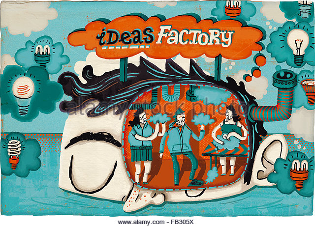 People working in ideas factory - Stock Image