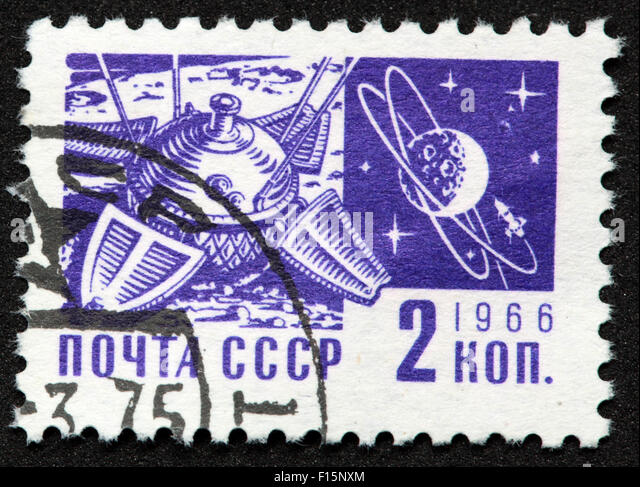 2 Kon Kopek Mockba 1966 space stamp - Stock Image