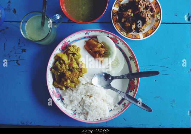 Nepal, Close up of nepalese chicken dal bhat - Stock-Bilder