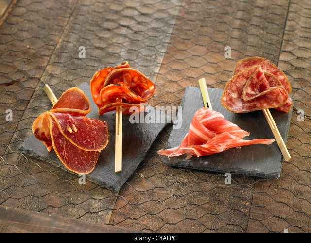 Salami, Chorizo and raw ham - Stock Image