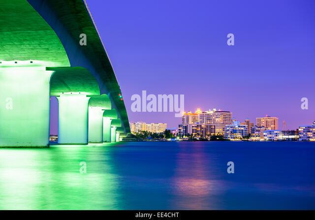 Sarasota, Florida, USA downtown city skyline. - Stock Image