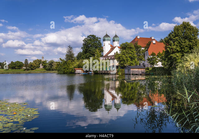 Germany, Bavaria, Upper Bavaria, Chiemgau, Seebruck, Seeon district, Cloistersee and Cloister Seeon, - Stock Image