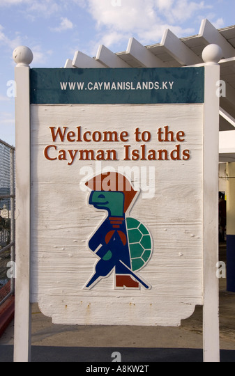 Grand Cayman George Town sir turtle welcome to the cayman islands sign marker - Stock Image