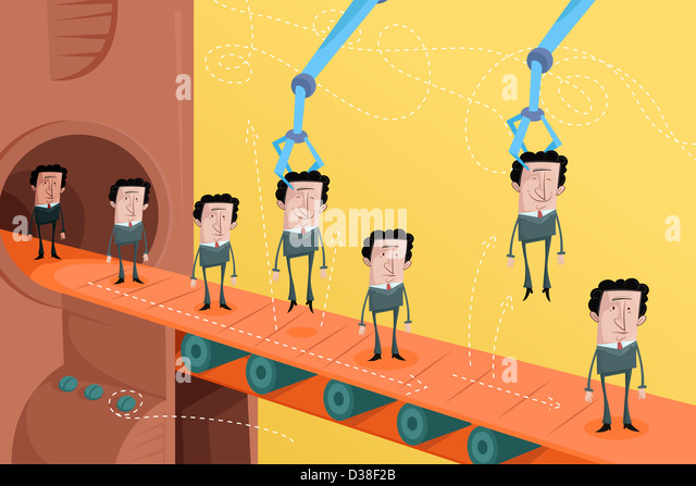 Illustrative image of candidates on conveyor belt representing employee selection - Stock Image