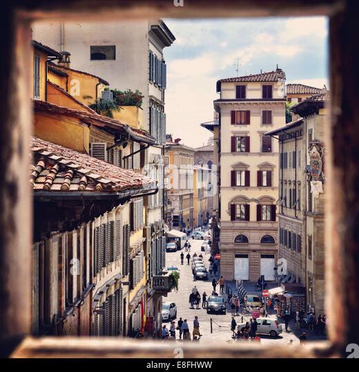 Street seen through window - Stock Image