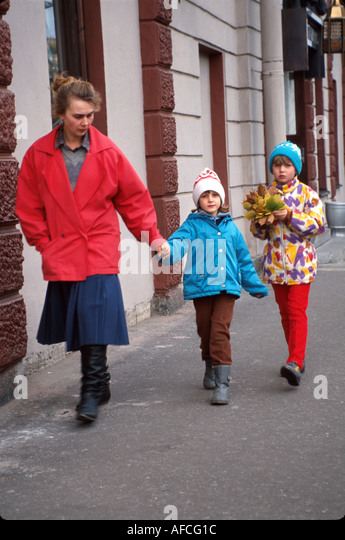 Russia former Soviet Union St. Petersburg family autumn - Stock Image