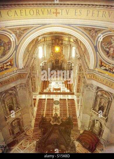 Vatican City - Interior area of St Peter's Basilica as seen from view deck inside cupola. - Stock Image