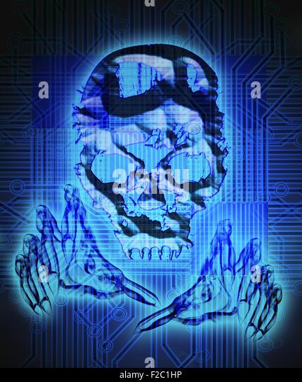digital crime concept digital illustration with skull - Stock Image