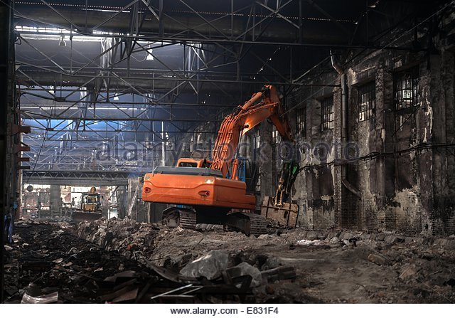 Industrial interior with bulldozer inside - Stock-Bilder
