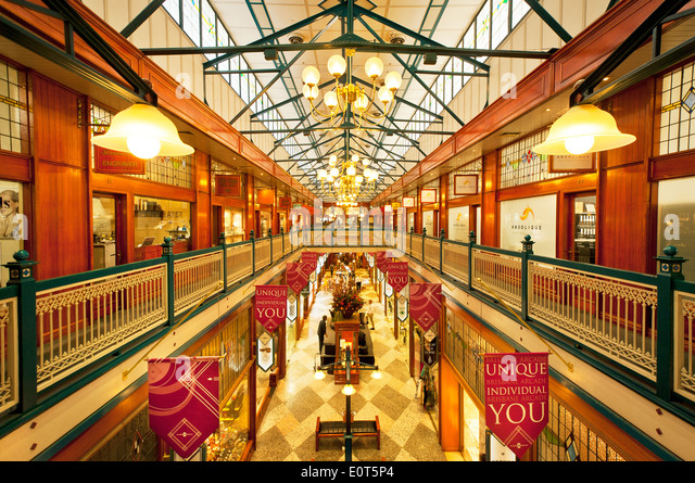 View into Queen Street Arcade in Brisbane. - Stock Image