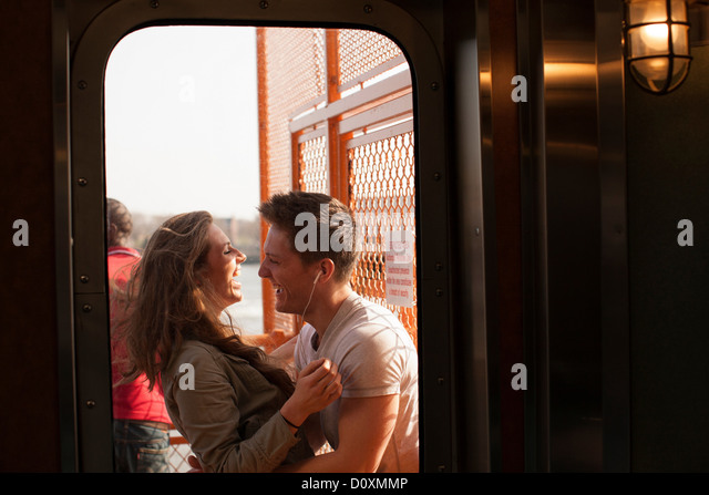 Young couple on a ferry - Stock-Bilder