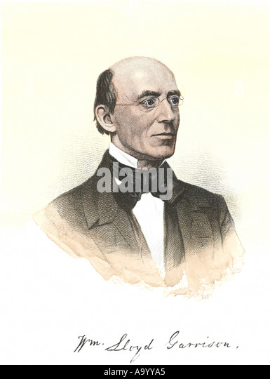 William Lloyd Garrison portrait with autograph - Stock Image